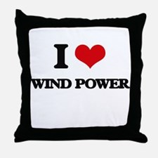 I Love Wind Power Throw Pillow