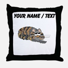 Custom Cat Curled Up Throw Pillow