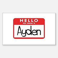 Hello Ayden Rectangle Decal