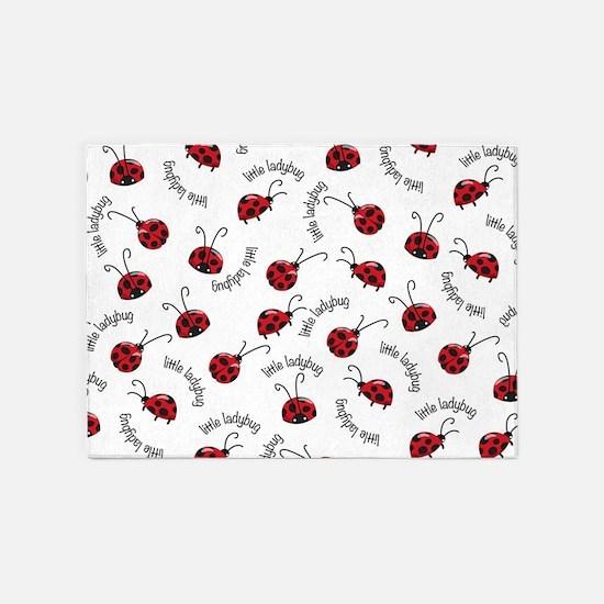 Little Red Ladybugs 5'x7'Area Rug
