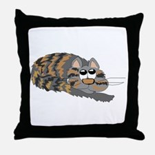 Cat Curled Up Throw Pillow
