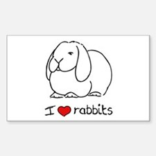 I Love Rabbits Rectangle Decal