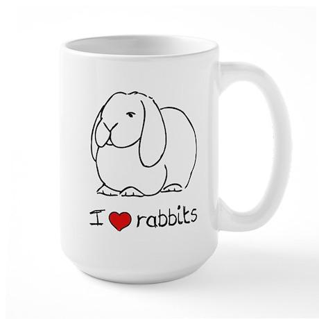 I Love Rabbits Large Mug