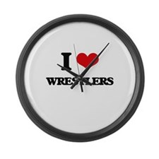 I love Wrestlers Large Wall Clock