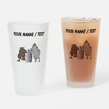 Custom Bulls And Keg Drinking Glass