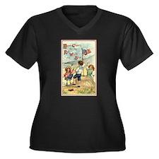 Three Cheers Women's Plus Size V-Neck Dark T-Shirt