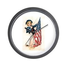 Patriotic Sailor Girl Wall Clock