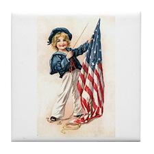 Patriotic Sailor Girl Tile Coaster