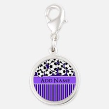 Soccer Balls purple stripes Silver Round Charm