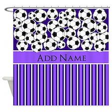Soccer Balls purple stripes Shower Curtain