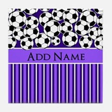 Soccer Balls purple stripes Tile Coaster