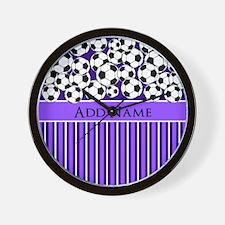 Soccer Balls purple stripes Wall Clock