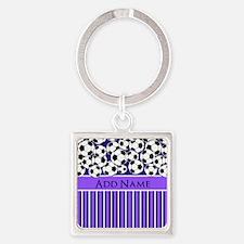 Soccer Balls purple stripes Square Keychain