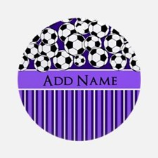 Soccer Balls purple stripes Ornament (Round)