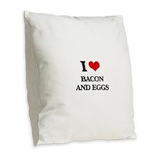 bacon and eggs Burlap Throw Pillow