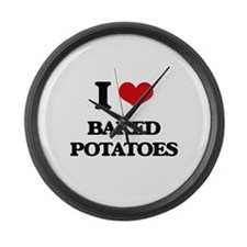 baked potatoes Large Wall Clock
