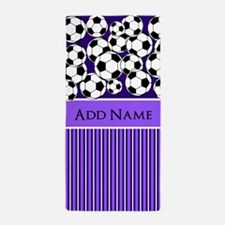 Soccer Balls purple white stripes Beach Towel