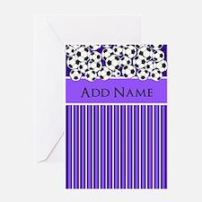 Soccer Balls purple white stripes Greeting Cards