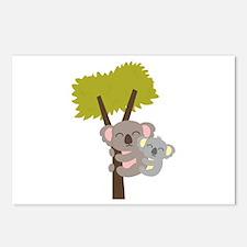 Cute Baby Koala Bear and Mommy on tree Postcards (