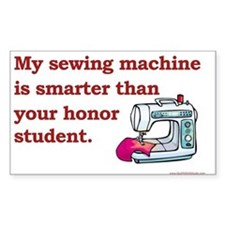 Sewing Machine/Honor Student Rectangle Bumper Stickers