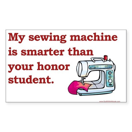 Sewing Machine/Honor Student Rectangle Sticker