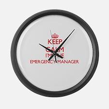 Keep calm I'm the Emergency Manag Large Wall Clock