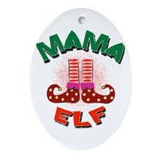 Mama Elf Ornament (Oval)