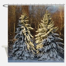 Snow Covered Pine Trees Shower Curtain