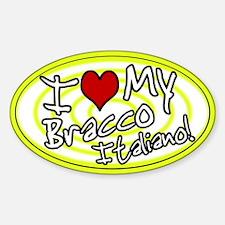 Hypno I Love My Bracco Italiano Oval Sticker Ylw