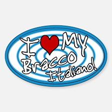 Hypno I Love My Bracco Italiano Oval Sticker Blu