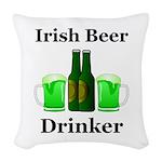 Irish Beer Drinker Woven Throw Pillow