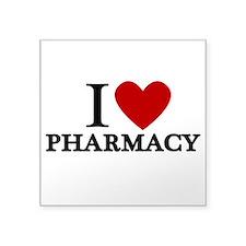 "I Love Pharmacy Square Sticker 3"" x 3"""