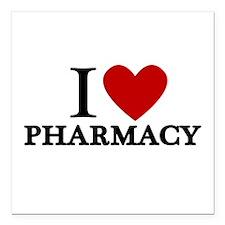 "I Love Pharmacy Square Car Magnet 3"" x 3"""