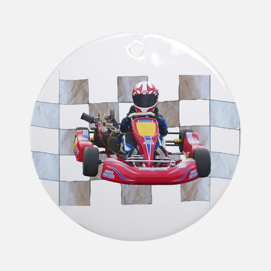 Kart on Checkered Flag Ornament (Round)