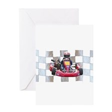 Kart on Checkered Flag Greeting Cards