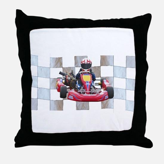 Kart on Checkered Flag Throw Pillow