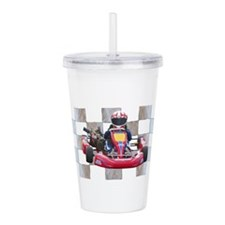 Kart on Checkered Flag Acrylic Double-wall Tumbler
