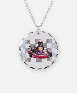 Kart on Checkered Flag Necklace