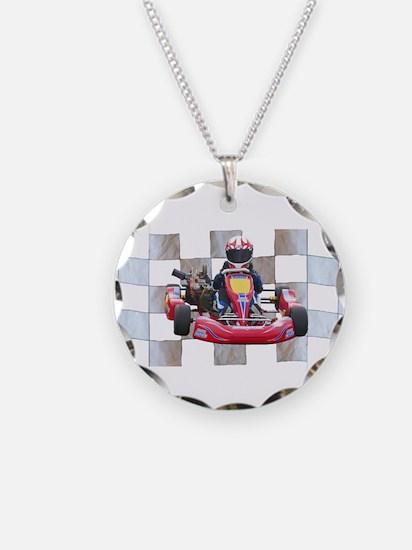 Kart on Checkered Flag Necklace
