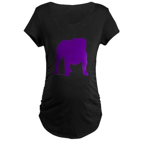 Purple Bulldog Silhoutte Maternity Dark T-Shirt