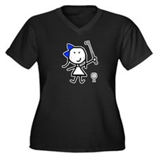 Girl & Golf Women's Plus Size V-Neck Dark T-Shirt