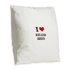 killer bees Burlap Throw Pillow