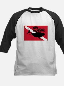 Scuba Diving Shark Flag Kids Baseball Jersey