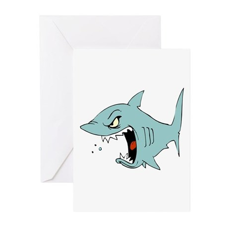 Angry Blue Shark Greeting Cards (Pk of 10)