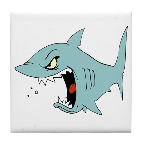 Angry Blue Shark Tile Coaster