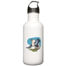 Bull Terrier Chewing Steel Water Bottle