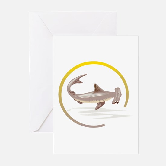 Hammerhead Shark Graphic Greeting Cards (Package o