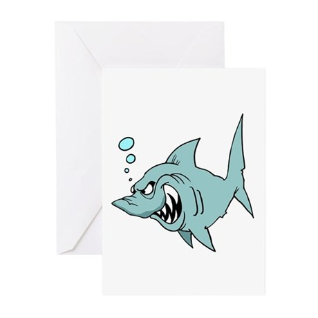 Screaming Blue Shark Greeting Cards (Pk of 10)