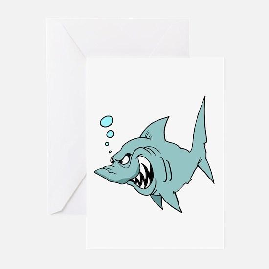 Screaming Blue Shark Greeting Cards (Pk of 10)