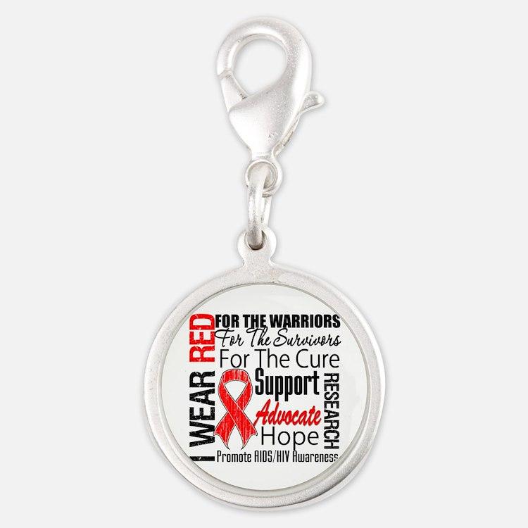 AIDS Silver Round Charm